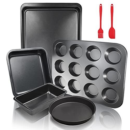 5Pcs FLMOUTN Non-Stick Carbon Steel Oven Bakeware Baking Tray Set with Bread Pan, Cookie Sheet, Pizza Pan, Cake Pan and Muffin/Cupcake Pan for Cooking