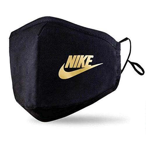 Black Face Mask With 2 Free PM2.5 Filters (Washable Durable & Reusable) Custom Nike Classic Face Cover - Gold