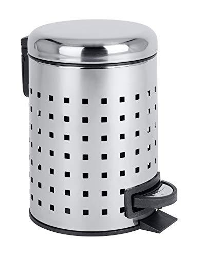 Wenko Cubo de Pedal 3l Perforado Leman, Acero Inoxidable, 22.5 x 17 x 25 cm