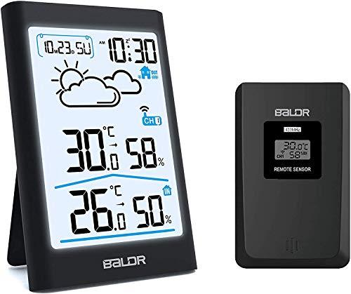 TEKFUN Wetterstation Funk mit Außensensor, Digital Thermometer Hygrometer Innen und Außen Raumthermometer Hydrometer Feuchtigkeit mit Wettervorhersage, Uhrzeitanzeige, Wecker und Nachtlicht (Schwarz1)