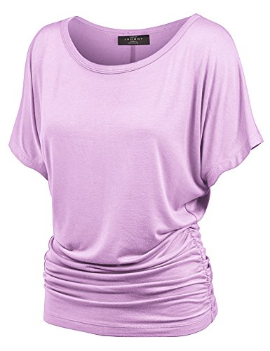 MBJ WT817 Womens Dolman Drape Top with Side Shirring S Lilac