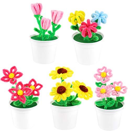 Toyvian 5 Sets Pfeifenreiniger Chenille-Stiele Handwerk Chenille-Stiele für DIY Kunst Blumen Pflanzen Handwerk Weihnachtsdekoration