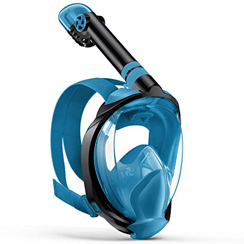 Zenoplige Full Face Snorkel Mask, Diving Mask Premium Innovative Safety Breathing System, 180 Panoramic Foldable Anti Fog Anti Leak Swimming Mask with Detachable Camera Mount for Adults Children