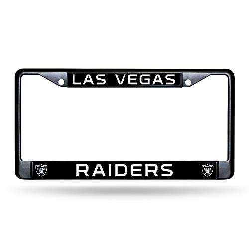 Rico Industries NFL Las Vegas Raiders Standard Chrome License Plate Frame, Black, 6 x 12.25-inches