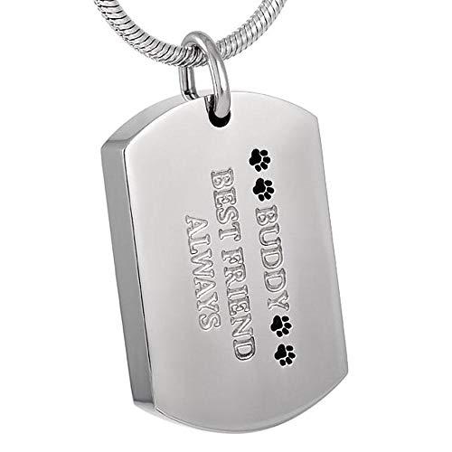 KBFDWEC Joyería Elegante de la cremación del Gato del Perro del Animal doméstico del Acero Inoxidable en Las Mujeres del Collar Pendiente