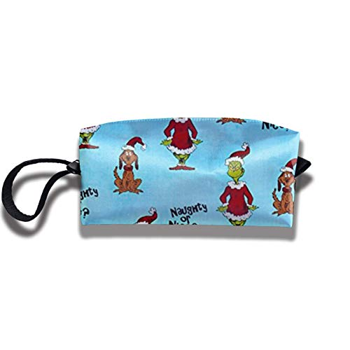Travel Makeup Bag 2.5x3.5x9 in Christmas Naughty Or Nice Travel Cosmetics Bag Case Purse Travel&Home Portable Make Up Receive Bag