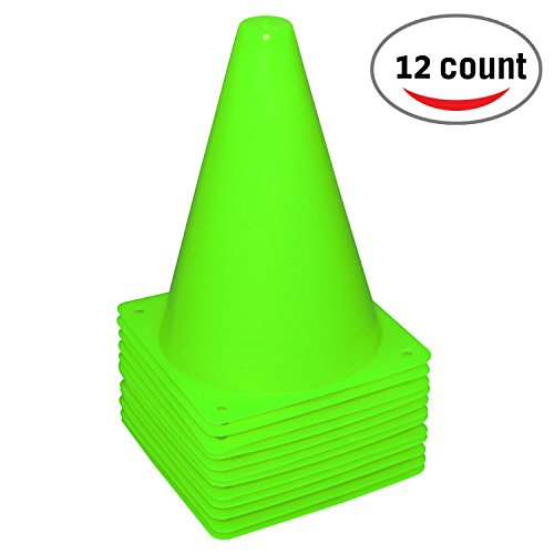 REEHUT 7.5 Inch Plastic Sport Training Traffic Cone (Set of 12, Green)
