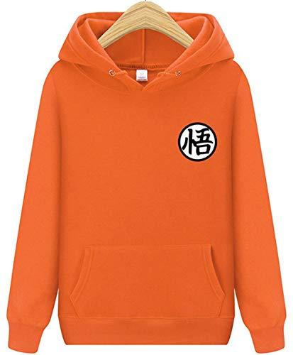 Charmley Femme Sweatshirt à Capuche Dragon Ball Goku Lettre Imprimé Pochette Unisexe Pull Animation Grande Taille pour Homme(10 Couleurs) (Medium, Orange)