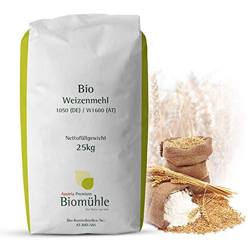 Bio Weizenmehl 25kg Typ 1050 | Hochwertiges Mehl - gentechnikfrei und pestizid-kontrolliert | Ideal zum Backen von Brot und Brötchen