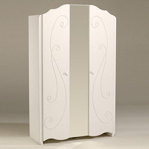 Kleiderschrank Weiß2 Türen B 116cm Schrank Drehtürenschrank W heschrank Spiegelschrank Kinderzimmer Jugendzimmer