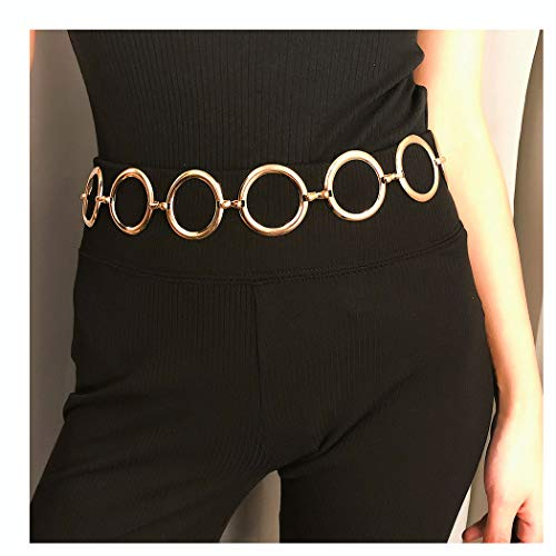 Drecode Simple Body Chain Geometry Circle Nightclub Belly Button Chains Jewelry Body Accessories for Women and Girls