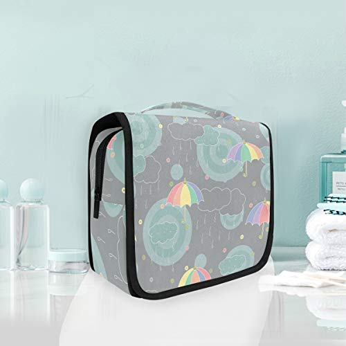 Makeup Cosmetic Bag Portable Rain Cloud Rainbow Umbrella Travel Storage Pouch Toiletry Bag for Women lady