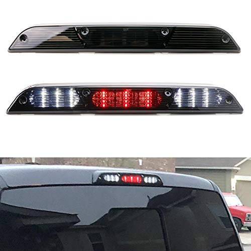 iJDMTOY Smoked Lens Full LED High Mount Third Brake/Stop Light Assembly Compatible With 2015-up Ford F-150, 2017-up Ford F-250 F-350, 2019-up Ford Ranger