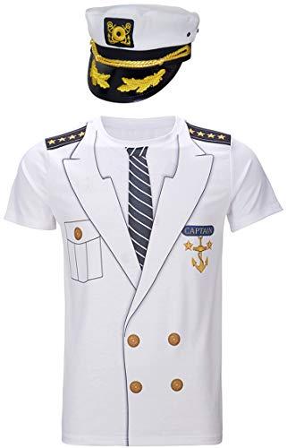 COSAVOROCK Herren Kapitän Kostüm T-Shirts mit Kapitän Hüte (L, Weiß)