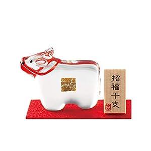【2021年干支】和硝子 干支(丑・牛・うし)の置物 「ケース入 金福丑(うし)」金箔入