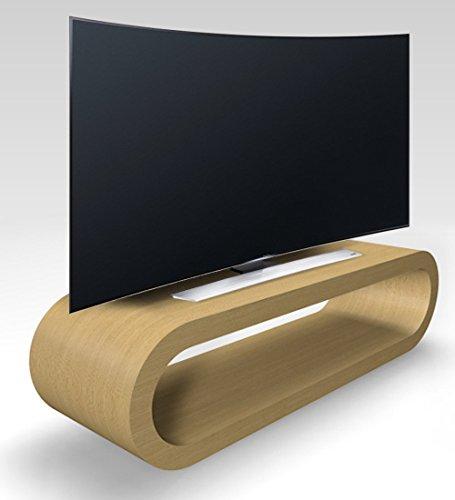 Zespoke Design Rétro de Cercle de Style Kiosque Grande TV Chêne Naturel/Armoire 110cm