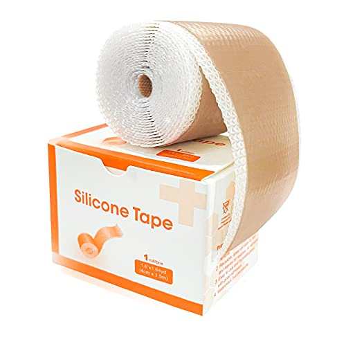 """Carbou Silicone Scar Tape (1.6"""" x 60""""Roll),Medical Silicone Easy-Tear Gel Tape Roll For Scar,Soft Silicone Tape for Surgery Scars,Medical Grade Wound Dressing"""