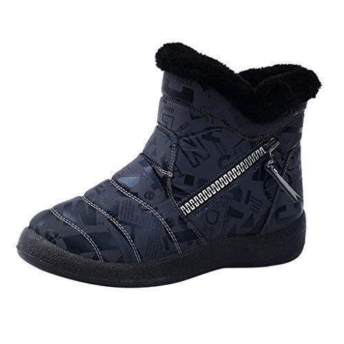 Botas de Mujer Botín Corto para niñas Zapatos cálidos de Invierno al Aire Libre Botines para la Nieve Camperas Verano Cortas clásicas en Negro Marca Moteras Ancha