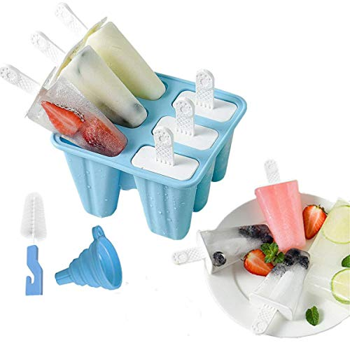 Popsicle Molds, 6 Pieces Food Grade Silicone Ice Pop Molds BPA Free Popsicle Mold Reusable Easy Release Ice Pop Maker with Silicone Funnel and Cleaning Brush (Blue)