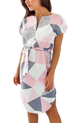 ECOWISH Sommerkleider Damen Kurzarm V-Ausschnitt Strand Blumen Kleider Abendkleid Knielang Rosa 2XL