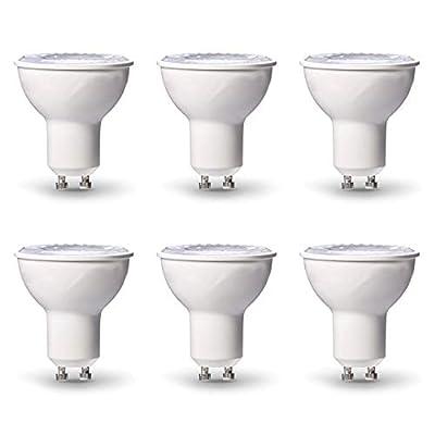 Asencia AN-03422 50 Watt Equivalent, Dimmable, MR16 (GU10 Base) Track Reflector Flood LED Light Bulb, 6-Pack, Warm White (3000K)