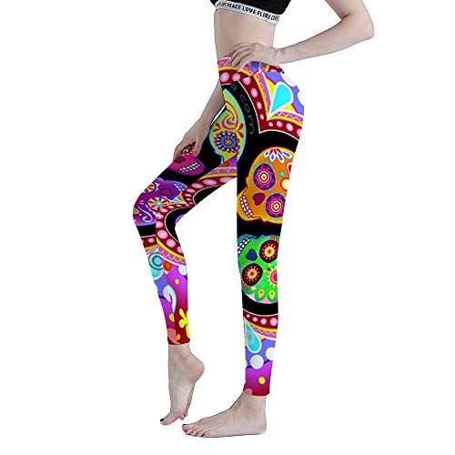 Cyloten Leggings Scary Skull Stitching Flower Pink Women's Printed Xmas Sports Footless Yoga Pants Workout-L
