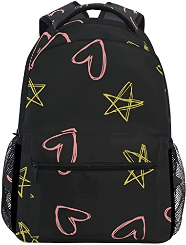 School College Backpack Rucksack Travel Bookbag Outdoor Stars Hearts