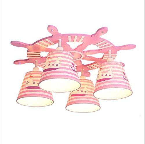 Plafondlamp, kinderkamerlamp, moderne creatieve mediterrane piratenveer van PVC lampenkap model plafondlamp, jongeren en meisjes slaapkamer plafondlamp E14 * 4 (zonder lichtbron)
