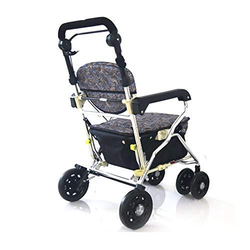 SXRL Aluminium Reiserollator, Rollator Faltbar und Leicht Gehwagen Tragetasche für Senioren mit Eingeschränkter Mobilität