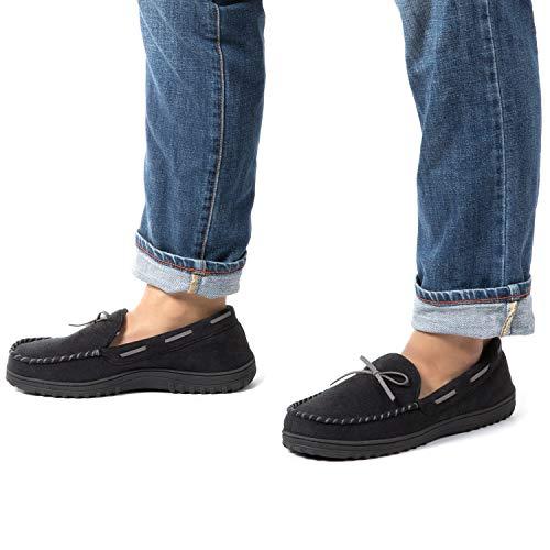 RockDove Men's Flannel Lined Memory Foam Moccasin Slipper II, Size 12 US Men, Black/Grey