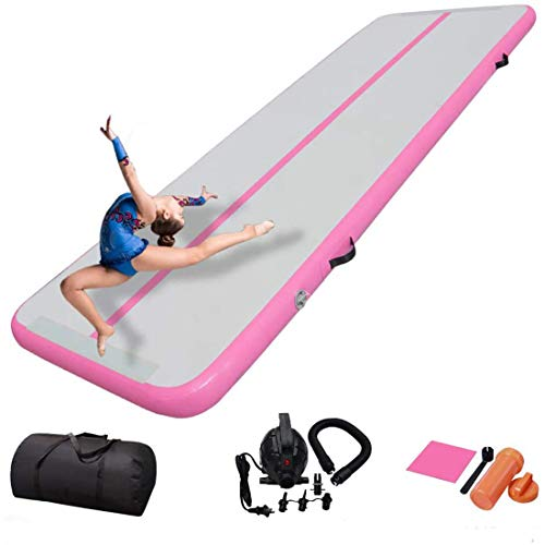 MYTOYS Air Track 164ft Inflatable Gymnastics Tumbling Air Track Mat Electric Air Pump Cheerleading/Practice Gymnastics/Beach/Park/Home use 10ft*33ft*4in3*1*01M pink