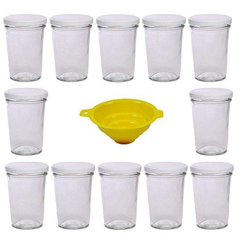Viva Haushaltswaren - 12 x kleines Becherglas / Marmeladenglas 150 ml mit weißem Deckel, Vorratsdosen Set als Einmachgläser, Gewürzgläser, für Kuchen im Glas etc. verwendbar (inkl. Trichter)