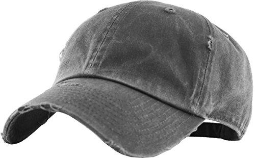 KBETHOS Vintage gewaschen Distressed Baumwolle Dad Mütze Baseball Cap verstellbar Polo Trucker Unisex Stil mit Kopfbedeckungen, Unisex-Erwachsene, (Vintage Pigment) Dark Gray, Einstellbar
