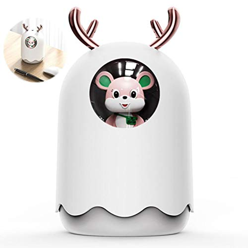 Naugust Humidificador para el hogar, humidificador de niebla fría, humidificador USB de dibujos animados con luces de 7 colores, aromaterapia para dormitorio, coche, oficina, apagado automático