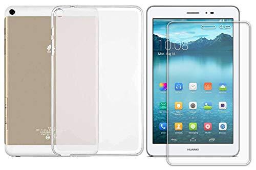 Domxteck (Paquete de 2 en 1 Funda Protectora de Silicona TPU Transparente + Protector de Pantalla 9H para Huawei MediaPad T3 8.0 (para Huawei MediaPad T1 8.0, Transparente)