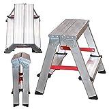 NAWA Escalera tijera doble acceso 2 Peldaños. Escadote Duplo Doméstico em Alumínio 2 degraus. EN 131 Capacidad Máx. 150 kg. Hecho en Europa (2 peldaños)