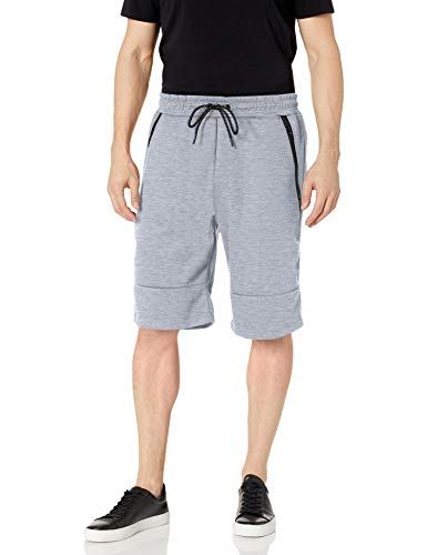 Southpole Men's Tech Fleece Basic Shorts in Solid Colors, Heather Gray, 2XL