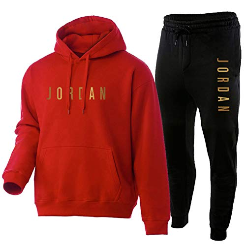 NFNF 2021 - Tuta da uomo, 2 pezzi, pantaloni e felpa con cappuccio, alla moda, felpa e calze della tuta Red-S