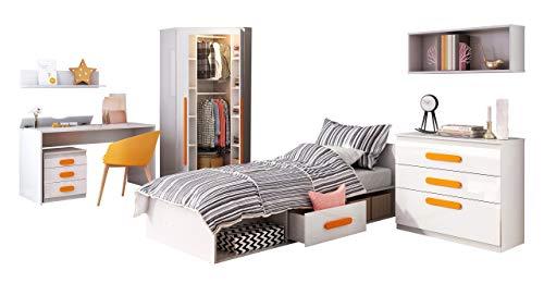 Mirjan24 Jugendzimmer Set Replay II, 7-TLG. komplett, Eckkleiderschrank, Container, Schreibtisch, Wandregal, Jugendbett Kommode (Weiß/Weiß Hochglanz, Orange)