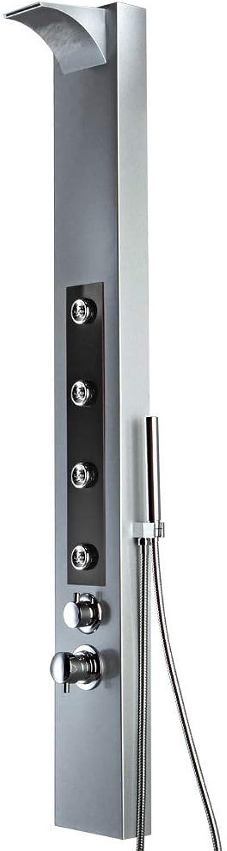 LED Aluminium Duschpaneel Silber Schwarz Wasserfall Massagedüsen Sanlingo