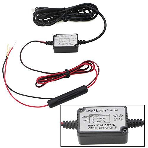 Dash Cam Hardwire Kit mit Mini-Port für Parkmodus, Armaturenbrett, Kamera, Autoladekabel, Kabel Kit 12 V-24 V bis 5 V, Netzadapter mit Sicherung für Dashcam, GPS-Navigator, Radarmelder