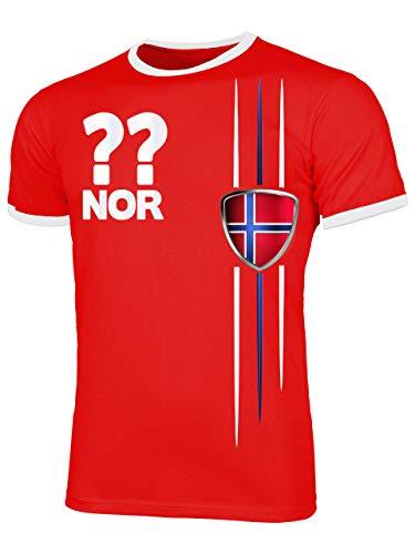 Norwegen 3336 Fussball Fanshirt Fan Shirt Tshirt Fanartikel Artikel Männer Herren Ringer T-Shirts Rot Weiss XXL