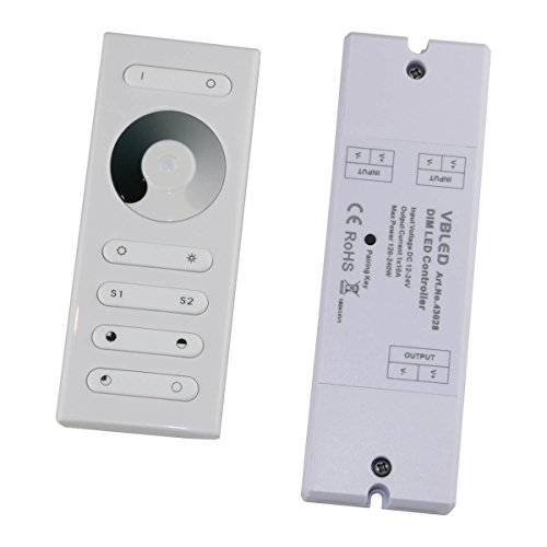 LED RF Dimmer mit Fernbedienung für einfarbige LEDs 12-24V DC Touch-Dimmer/Fernsteuerung für einfarbige LED Streifen, Module, etc Touch RF-Fernbedienung Regler Kontroller [Energieklasse A+]