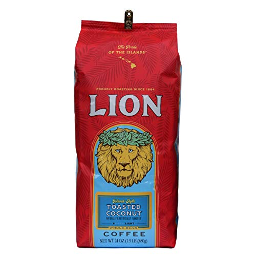 Lion Coffee, Toasted Coconut Flavor, Light Roast, Whole Bean, 24 Ounce Bag