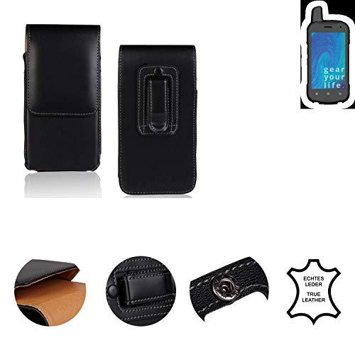 K-S-Trade® Holster Gürtel Tasche Für Ruggear RG720 Handy Hülle Leder Schwarz, 1x
