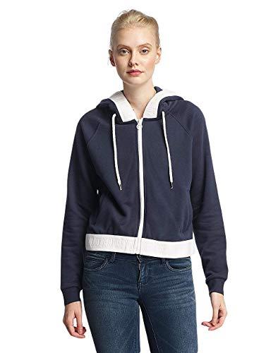 ONLY Damen onlJANNA L/S Short Hood SWT Sweatjacke, Blau (Sky Captain Detail:Cloud Dancer), 38 (Herstellergröße: M)