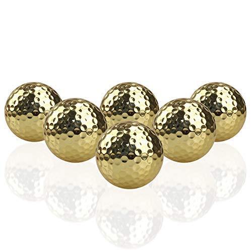 Crestgolf Golfbälle - Gold Metallic Chromball, Gummi Gold Golfbälle für Outdoor-Übungen (6 Stück)