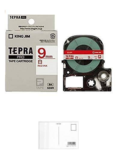 キングジム テープカートリッジ テプラPRO 9mm SS9R 白 赤文字 【× 2 個 】 + 画材屋ドットコム ポストカードA