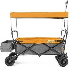 Creative Outdoor Collapsible Folding Wagon Cart for Cargo | All Terrain | Beach Park Garden Sports & Camping | Orange & Gray with Canopy