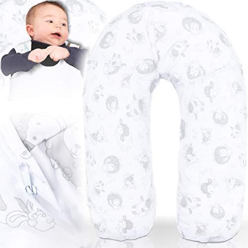 Stillkissen/Lagerungskissen/Seitenschläferkissen/Kissen mit bunten Motiven Baby Kind (160 cm) (SCHAF)